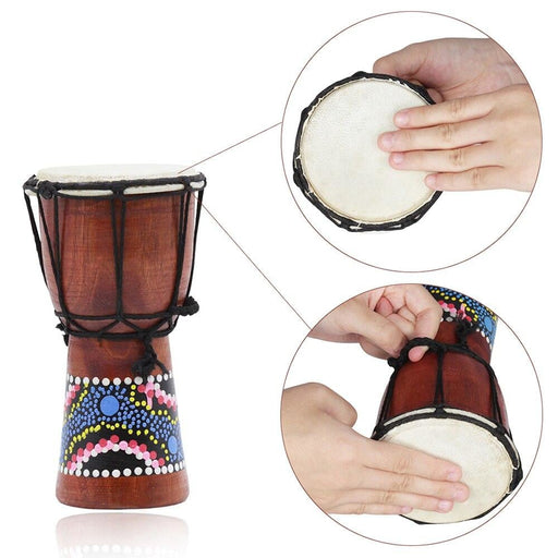 4 Inch African Drum Djembe Hand Drum Percussion Musical Instrument with Colorful Pattern (Patterns Random Delivery)