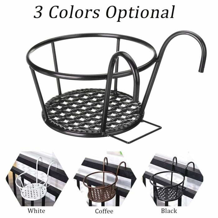 4 Pcs Balcony Hanging Flower Stand Outdoor Plant Iron Rack