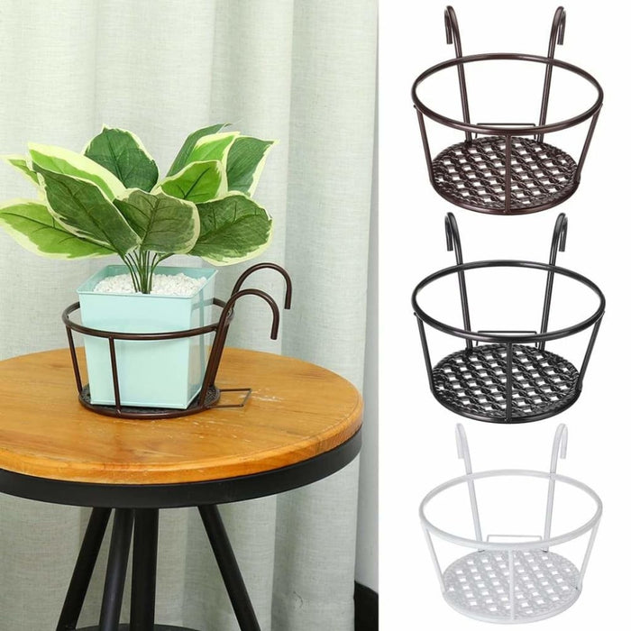 Balcony Hanging Flower Stand Outdoor Plant Iron Rack Stands Metal Flowers Shelf