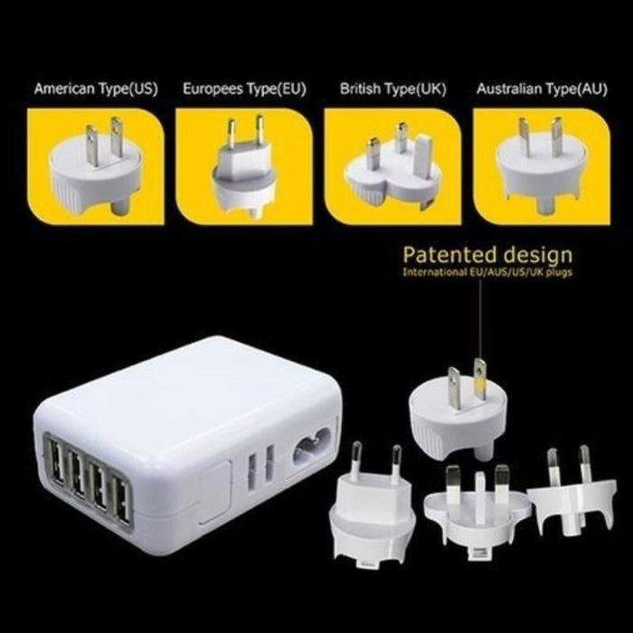 4 Port USB Wall AC Charger | White goslash fast delivery fast delivery