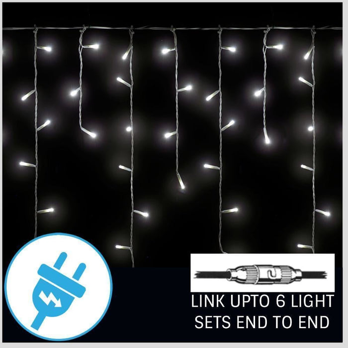 400 LED Icicle Lights   White   5.5m Lit length    Connectable   8 Functions goslash fast delivery fast delivery