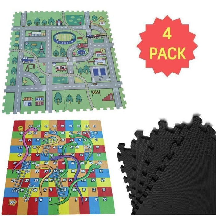 4pk EVA Foam Interlocking Floor Mat |  Available in 3 Styles goslash fast delivery fast delivery
