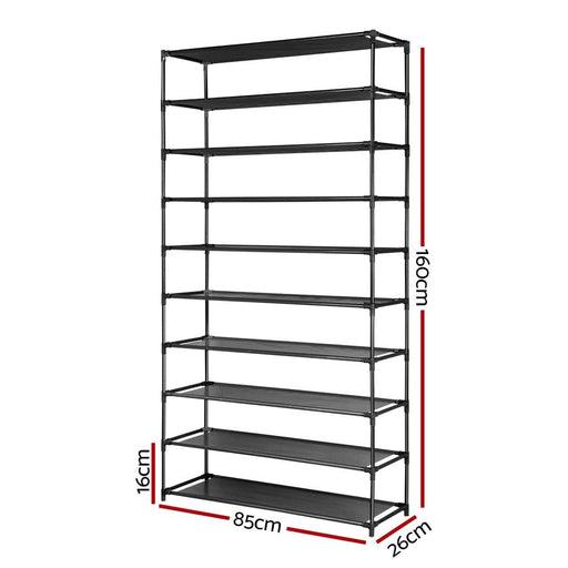 50 Pairs 10 Tier Shoe Rack Metal Shelf Holder Stackable