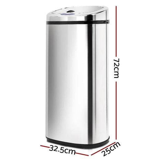 50l Stainless Steel Motion Sensor Rubbish Bin Home & Garden