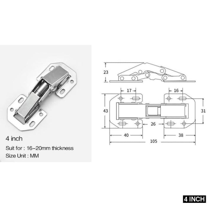 5PCS NAIERDI Kitchen Cabinet Hinges 90 Degree No-Drilling Hole Hydraulic Hinge For Cupboard Door Furniture Hardware With Screws