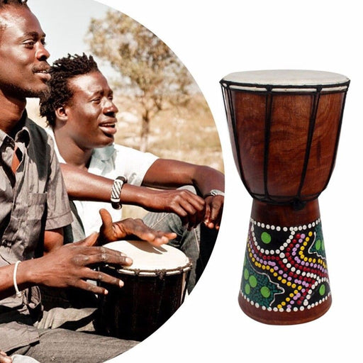 6in African Djembe Drum Hand-Carved Solid-Wood Goat-Skin Traditional African Musical Instrument
