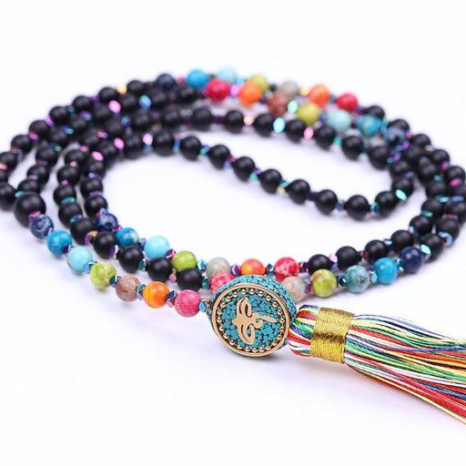 6Mm Matte Black Onyx Necklace Chakra Yoga
