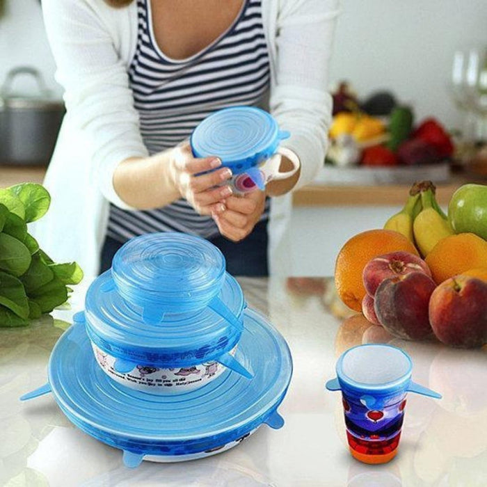 6pcs/Set Kitchen Silicone Fruit Food Fresh Cover Saver Covers goslash fast delivery fast delivery