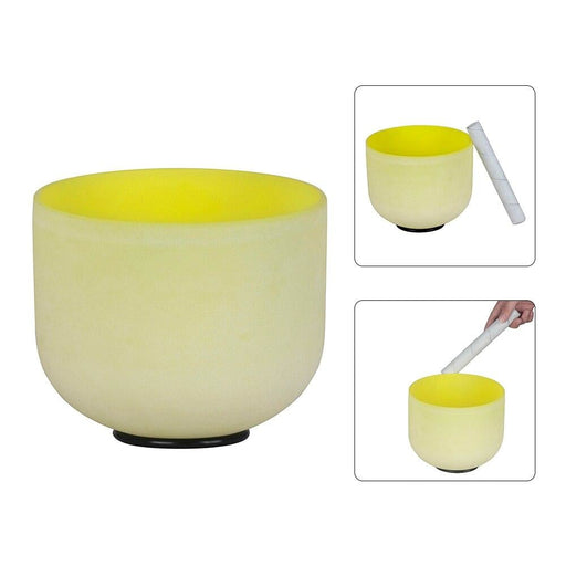 8 Inch Crystal Singing Bowl B Note with Mallet & Rubber O-Ring for Music Making Meditation Yoga White/ Yellow/ Green 3 Colors