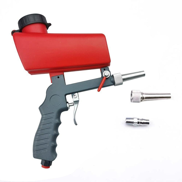 90psi Mini Aerodynamic Spray Gun Aluminium Handheld Gravity Pneumatic Sandblaster Gun 700cfm Lightweight Power Machine (A)