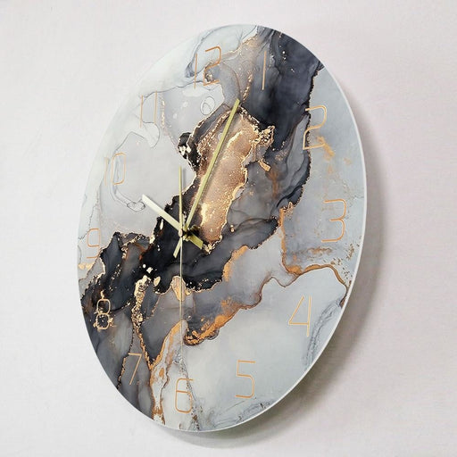 Abstract Alcohol Ink Printed Wall Clock Modern Art Marble Texture Silent Quartz Clock Watercolor Painting Home Decor Wall Watch