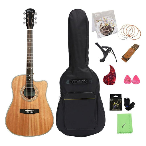 """ammoon 41"""" Acoustic Guitar Cutaway Folk Guitar Rosewood Fingerboard with Gig Bag Capo Tuner Cleaning Cloth Strings Guitar Strap"""