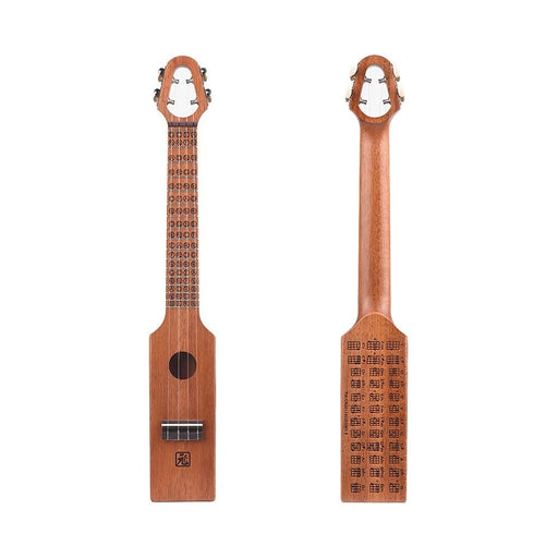 """23"""" Acoustic Ukulele Concert Ukelele Mahogany Wood Compact Size With Carved Musical Scale & Chord Chart Carry Bag"""