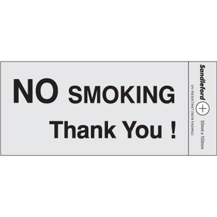 Self Adhesive  No Smoking Silver Sign goslash fast delivery fast delivery