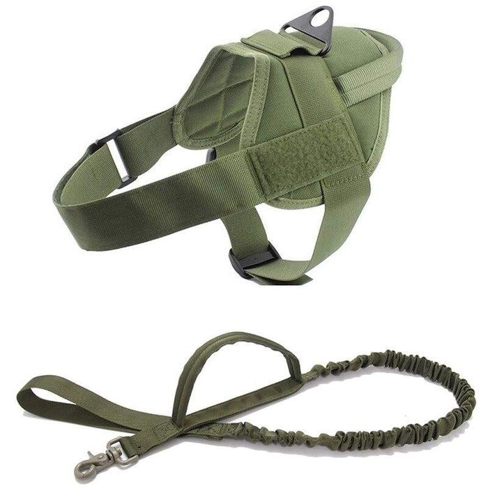 Adjustable K9 Walking Dog Harness Collar Vest Green Harness