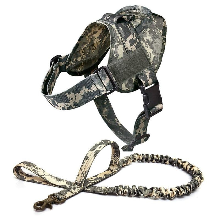 Adjustable K9 Walking Dog Harness Collar Vest ACU Harness