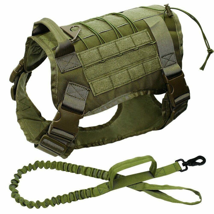 Adjustable Training Dog Vest with Handle Army Green Set / S