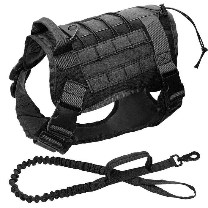 Adjustable Training Dog Vest with Handle Black Set / S