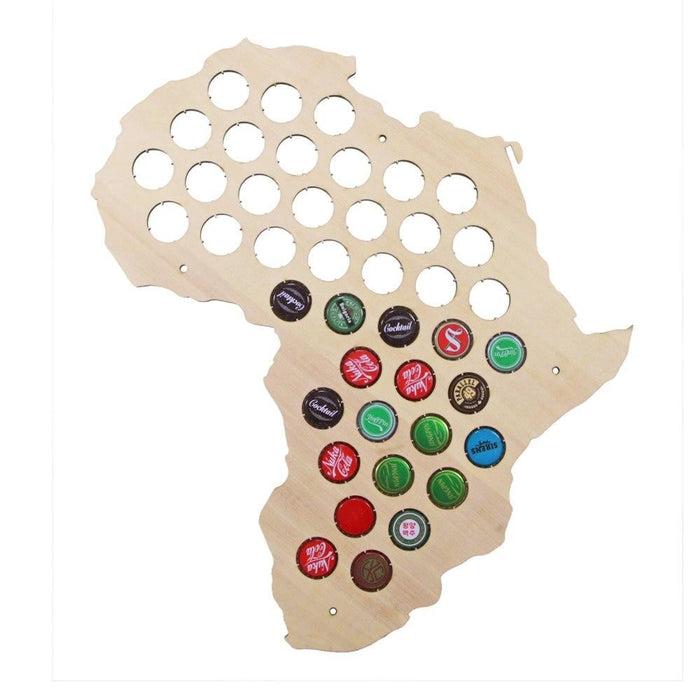 African Beer Cap Map Wooden Craft Beer Cap Trap Display Art Africa Beer Cap Hoder Caps Collectors Gift Home Decor Accessories
