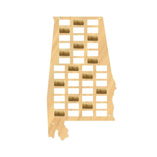 The Cotton State Alabama Wine Cork Map The Heart of Dixie Wooden Cork Display Collection Wood Craft Map Gifts For Wine Lovers