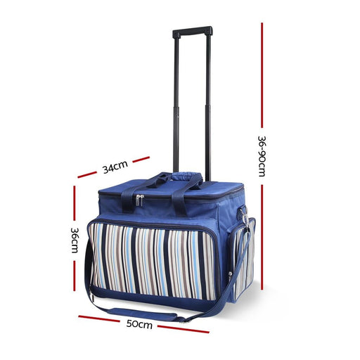Alfresco 6 Person Picnic Bag Trolley Set - Blue - Outdoor >