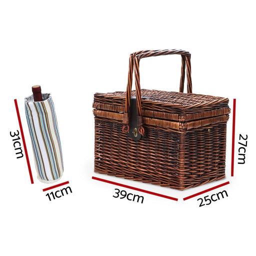 Alfresco Deluxe 4 Person Picnic Basket Set Folding Outdoor