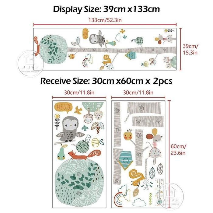 Cartoon Height Ruler Wall Stickers Animal Tree for Kids Room
