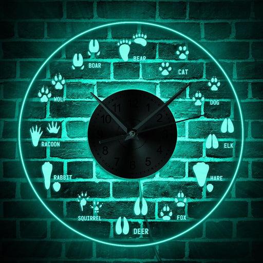12 Different Animal Tracks Nursery Wall Clock with LED illumination Woodland Adventure Animal Footprints Field Guide LED Clock