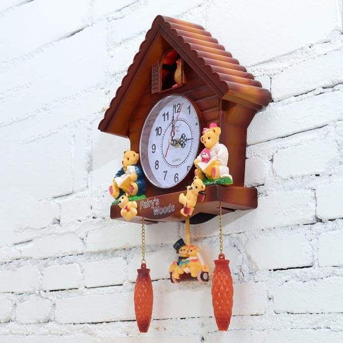 Antique Wooden Cuckoo Wall Clock Bird Time Bell Swing Alarm Watch Wall Home Decor