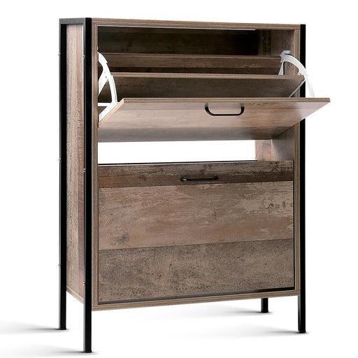 Artiss 12 Pair Wooden Vintage Shoe Rack Storage Cabinet - Wood