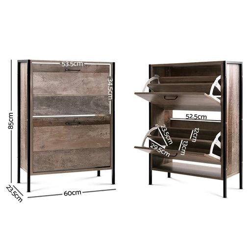 Artiss 12 Pair Wooden Vintage Shoe Rack Storage Cabinet -