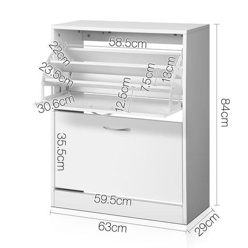 Artiss 2 Door Shoe Cabinet - White - Home & Garden > Storage