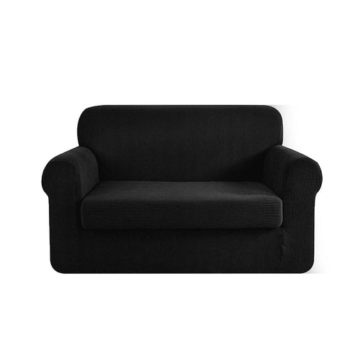 Artiss 2-piece Sofa Cover Elastic Stretch Couch Covers Protector 2 Steater Black