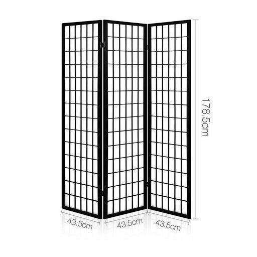 Artiss 3 Panel Wooden Room Divider - Black - Furniture >