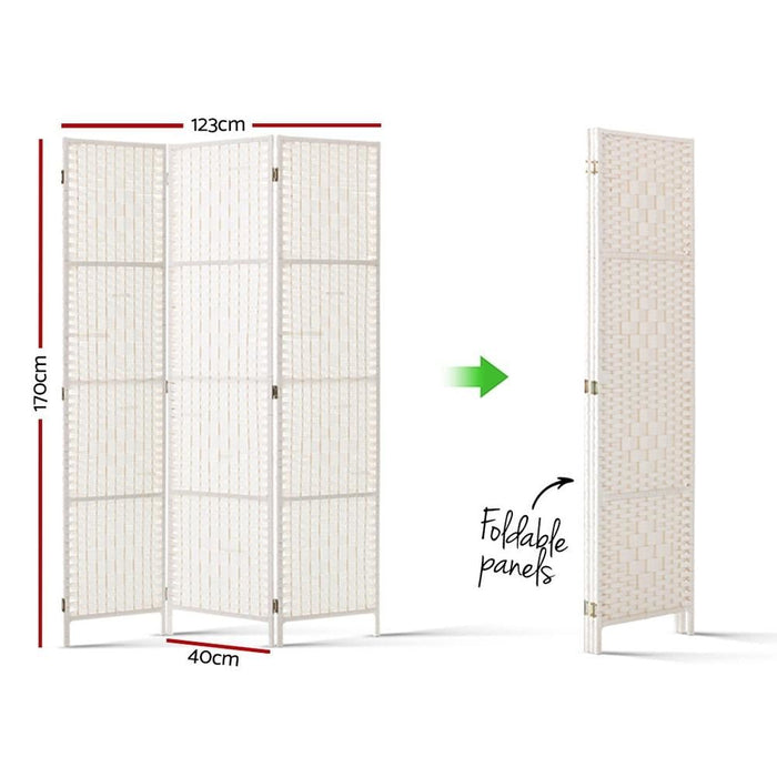 Artiss 3 Panels Room Divider Screen Privacy Rattan Timber