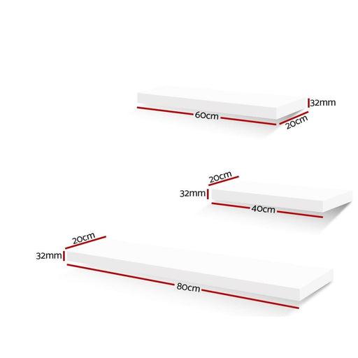 Artiss 3 Piece Floating Wall Shelves - White - Home & Garden