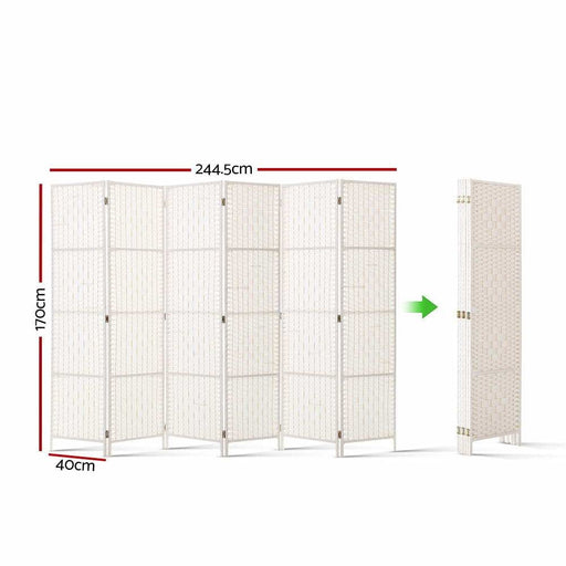 Artiss 6 Panel Room Divider Privacy Screen Rattan Timber