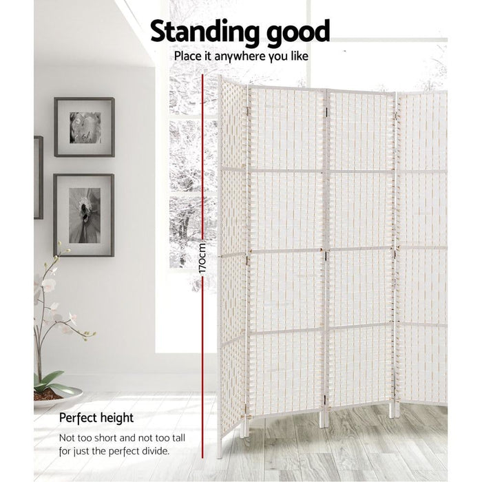 Artiss 8 Panels Room Divider Screen Privacy Rattan Timber