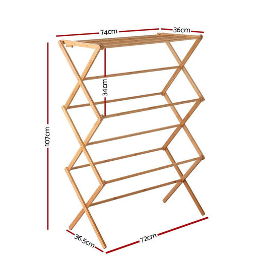 Artiss Bamboo Clothes Dry Rack Folable Towel Hanger Laundry