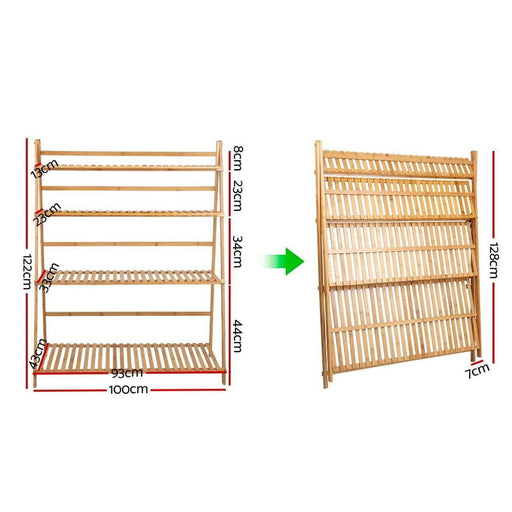 Artiss Bamboo Wooden Ladder Shelf Plant Stand Foldable -
