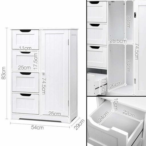 Artiss Bathroom Tallboy Storage Cabinet - White - Furniture