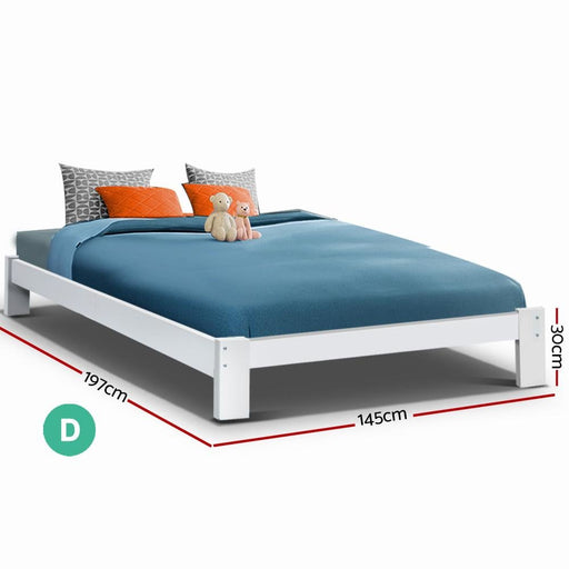 Artiss Bed Frame Double Size Wooden Bed Base Jade Timber