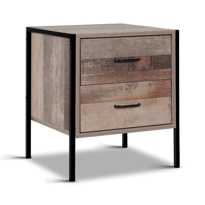 Artiss Bedside Table Drawers Nightstand Metal Oak goslash fast delivery fast delivery