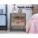 Artiss Bedside Table Drawers Nightstand Metal Oak -