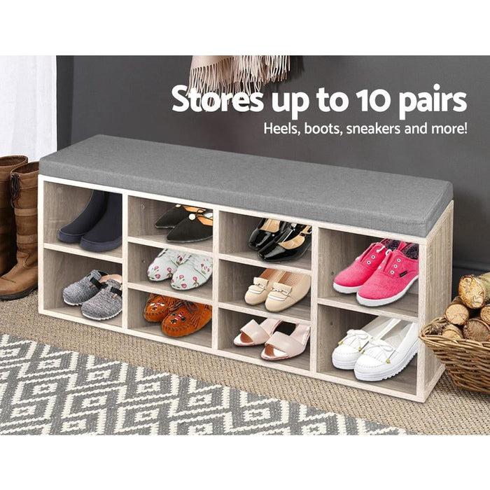 Artiss Bench Wooden Shoe Rack Storage - Furniture > Living