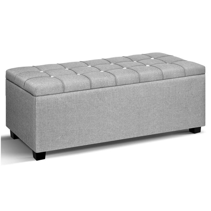Artiss Blanket Box Storage Ottoman Fabric Foot Stool Grey goslash fast delivery fast delivery