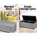 Artiss Blanket Box Storage Ottoman Fabric Foot Stool Grey -