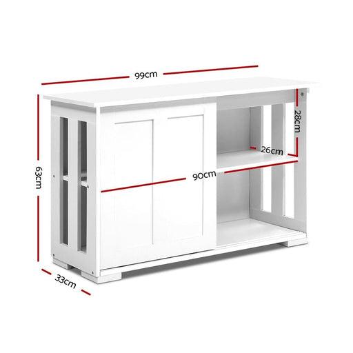 Artiss Buffet Sideboard Cabinet White Doors Storage Shelf