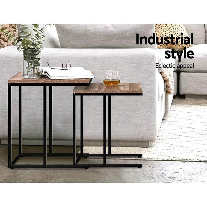 Artiss Coffee Table Nesting side Tables Wooden Rustic