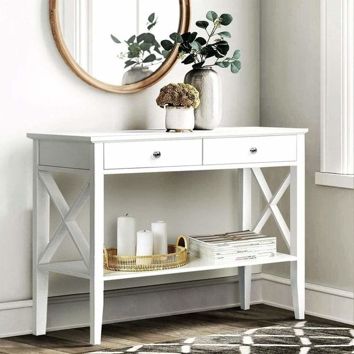 Artiss Console Table Hall Side Entry 2 Drawers Display White